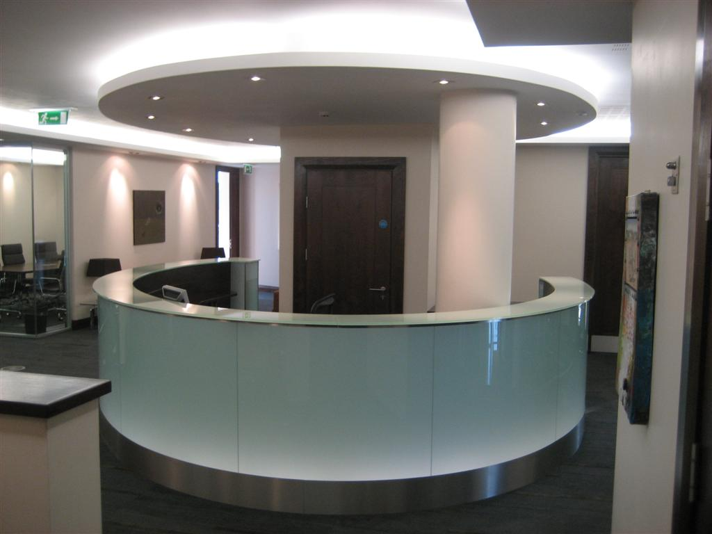 glass reception desk-very easily to be a part of the company brand