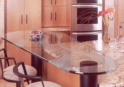 Glass :A relatively new option in countertops