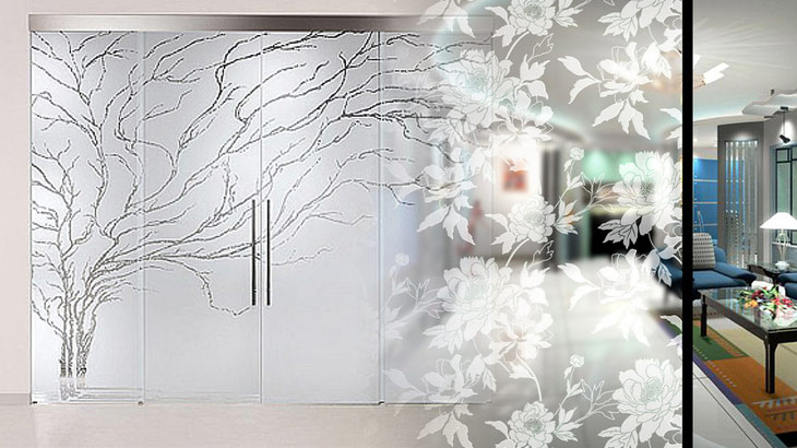 Decor Your Office Interior With Acid Etched Glass Doors