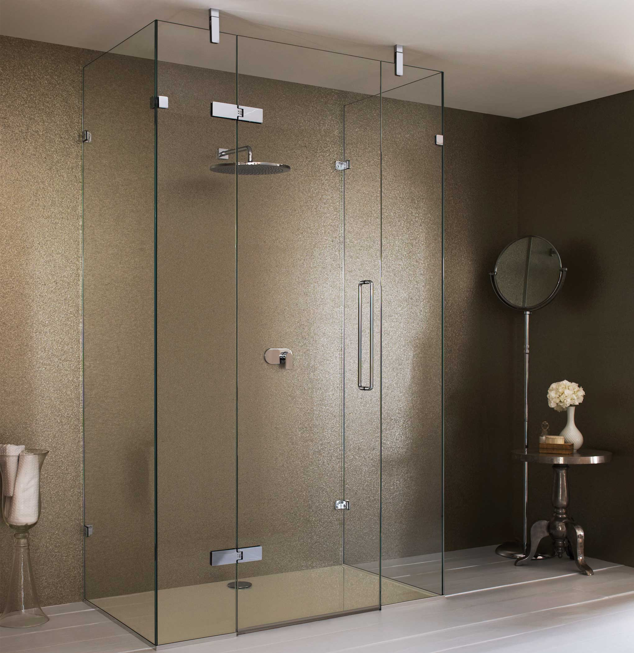 Temperd shower door