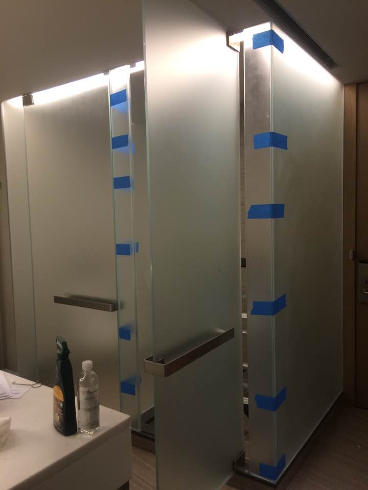 Acid Etched Glass Shower Door