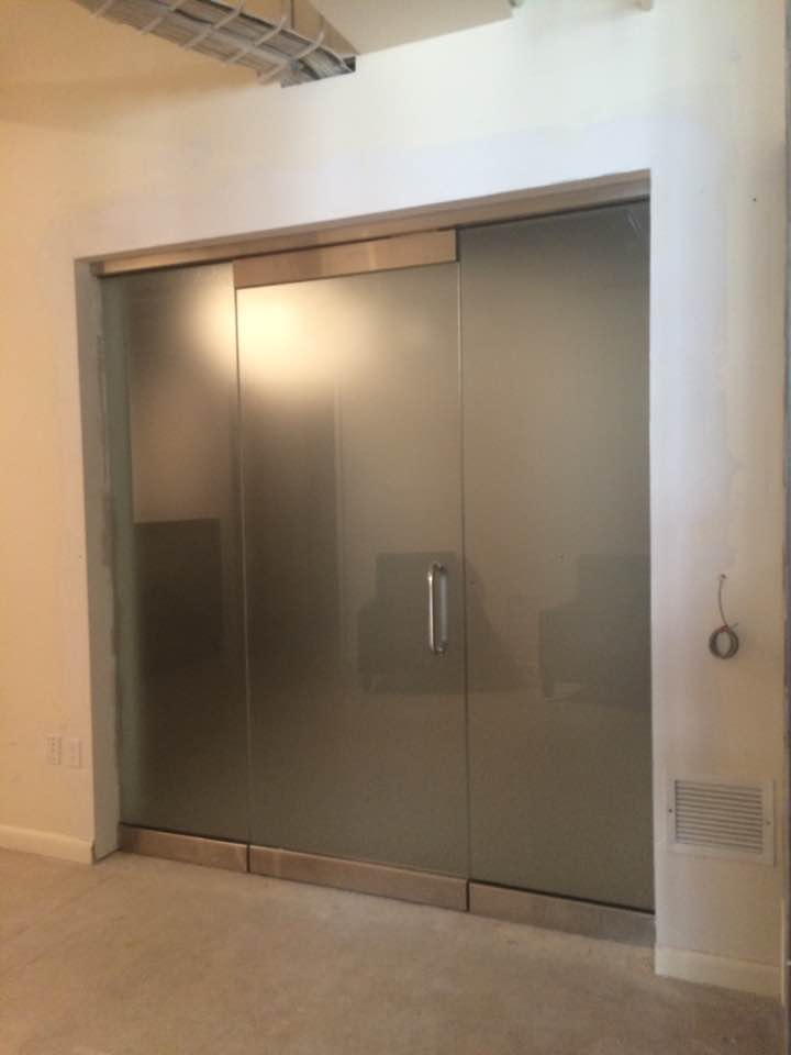 Acid Etched Glass Door
