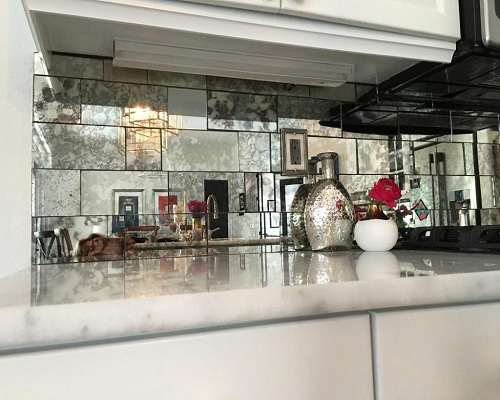 antique mirror kitchen backsplash