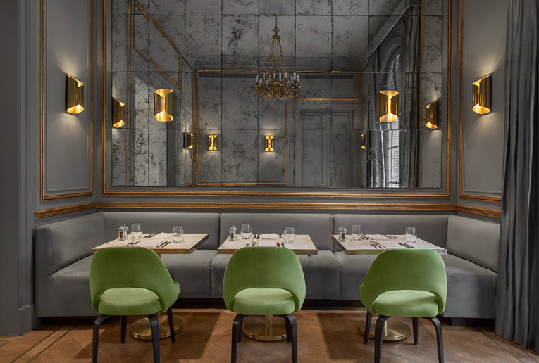 Restaurant With Antiqued Mirror Wall